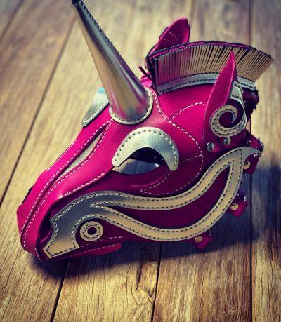 Lederen eenhoornmasker